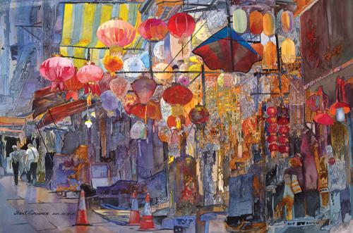 watercolor-cityscape-John-Salminen-Hong-Kong-Central