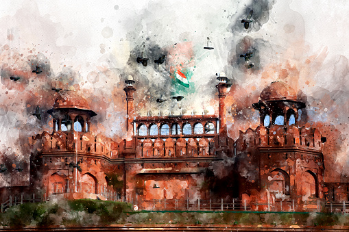 red fort India Digital Art Watercolor Painting Abstract by Photographer.